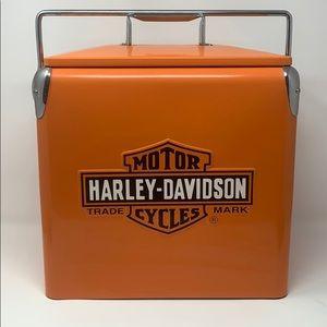 Vintage Orange Harley Davidson Metal Cooler